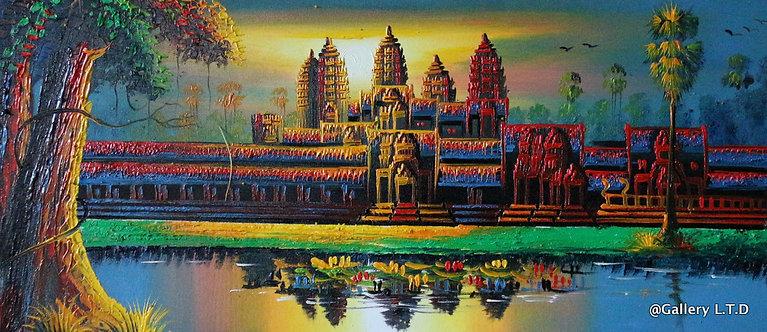 @rtist Vannak Angkor Wat 1ប្រាសាទអង្គរវត្ត 30X70cm