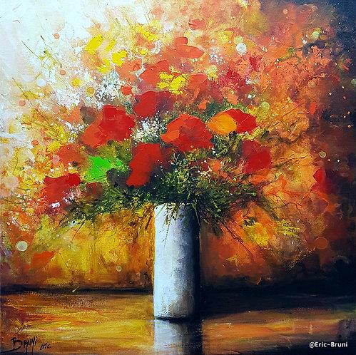 Eric Bruni Bouquet de fleurs rouges 50X50cm