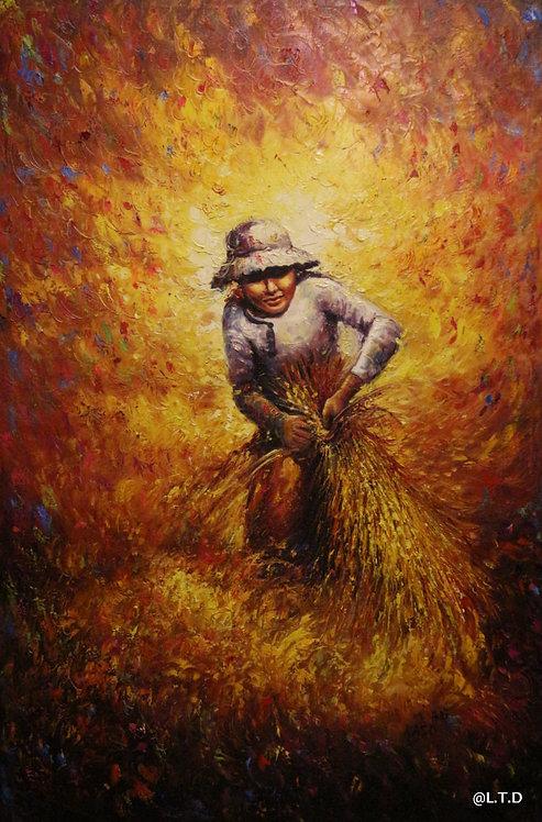@rtist Kaso Kmer peasant woman cutting