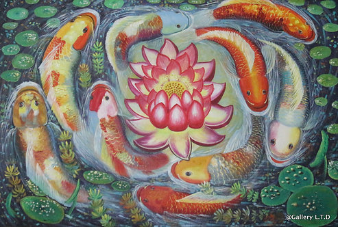 @rtist Vannak 70 X 140 cm  fish colours 1