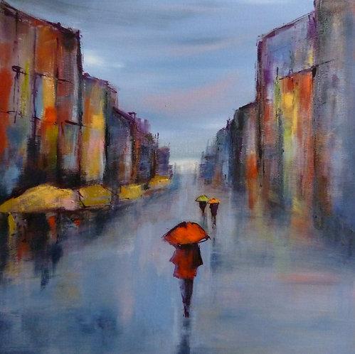 La cité vermeille 50x50 cm  Acrylic on Canvas