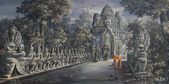 3.artist Mr. Cheay. The gate of Bayon  100x200cm.