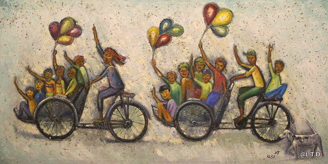 @rtist Kaso bicycle children 70 X 140 cm