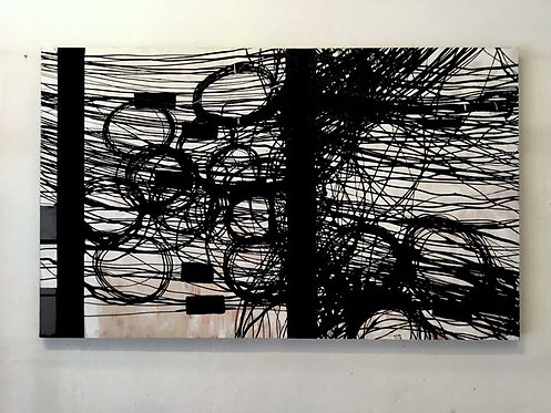 Wasan Suttikasem สายสื่อสาร (wires and cables) 110 x 180 CM…