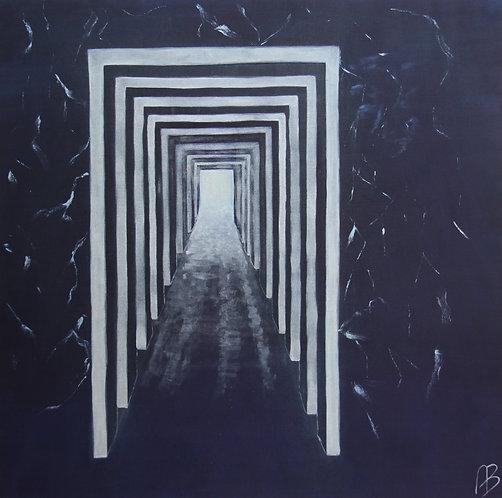 @rtist Armelle.R -12 - la 9éme PORTE – 2007 – oil on canvas – 55''x55Inch