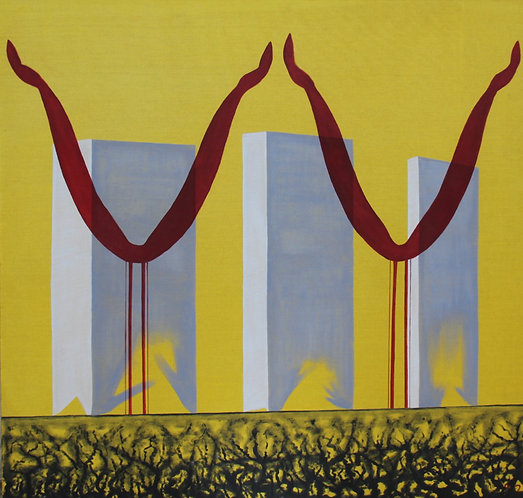 @rtist Armelle 5–TWIN-TOWERS – 2008 – oil on canvas – 55''x55'' –inch
