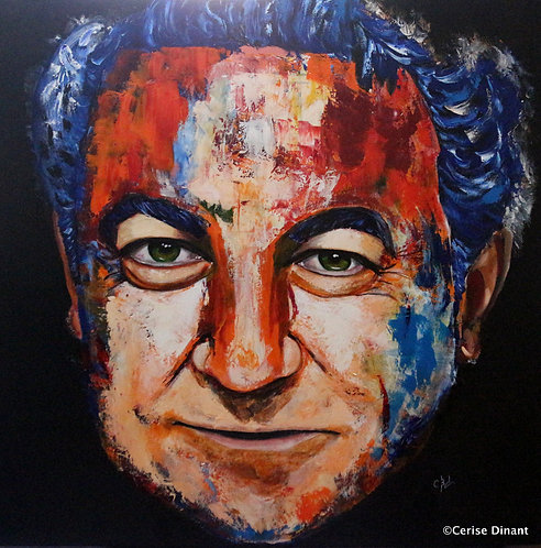 5 -Coluche Oil on canvas 80 x 80cm