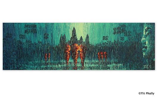@rtist Tit Phally Rainning Style 50X150 CM oil Canvas