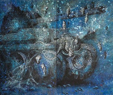 Vasin Suttikasem Size 150*180 cm.  Oil color on zinc plate