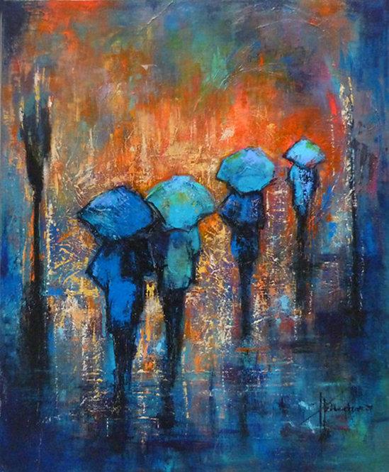 Lumière diluvienne – 73x60 cm   Acrylic on Canvas