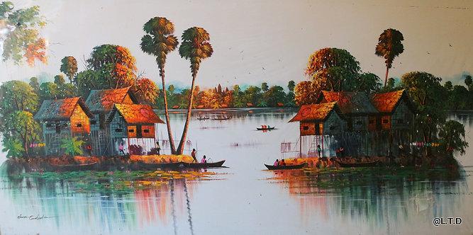 The floating village.  Chan Ra.  100x200cm.