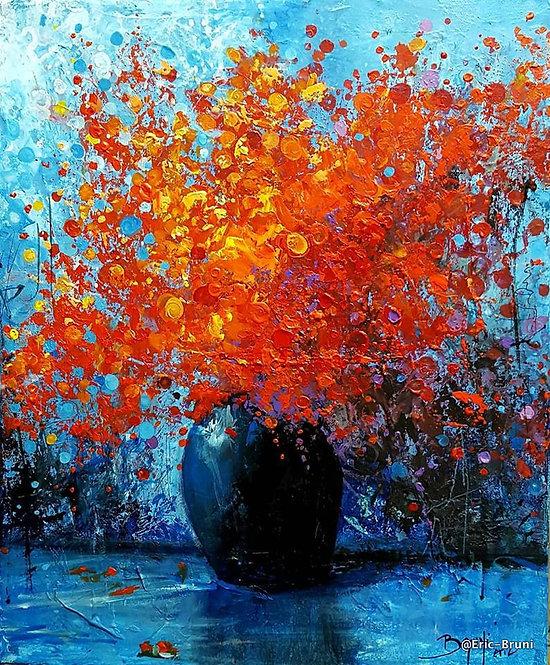 Eric Bruni Fleurs rouges au vase noir  46X38cm