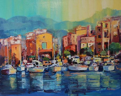 @rtiste Michel-Thomas 2-Le soir sur le Port Oil on Canvas 98X79cm