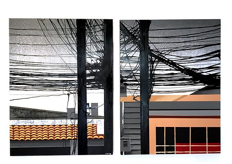 Wasan Suttikasem  Title: Rooftop Cafe Dimension: 90x120 CM x 2 panels