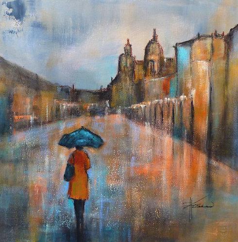 7-La cité vermeille - 50x50 cm   Acrylic on Canvas