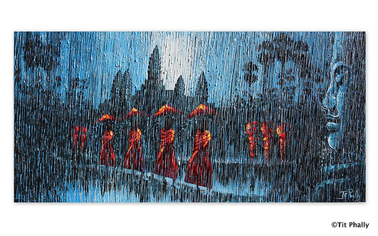 @rtist Tit Phally Rainning Style 30 X 70 CM oil Canvas