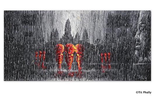 @rtist Tit Phally Rainning Style 30X70 CM oil Canvas