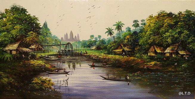 @rtist Kaso Lake siem Riep70X140 cm oil-Canvas