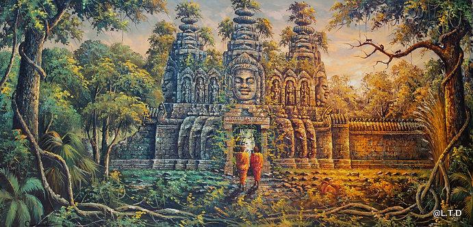 2.Artist. Kang Meng.  The gate of Bayon  100x200cm