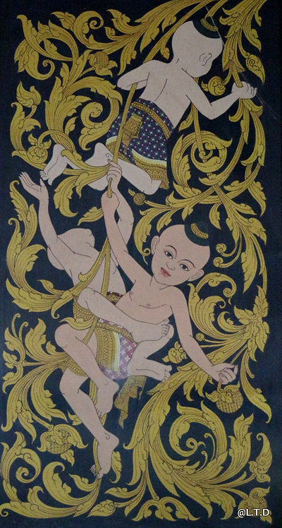 Vannak.  Khmer transitional painting. 40x90cm