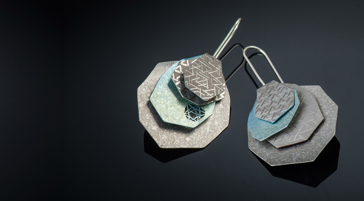 titanium earrings Olivine Pallasite