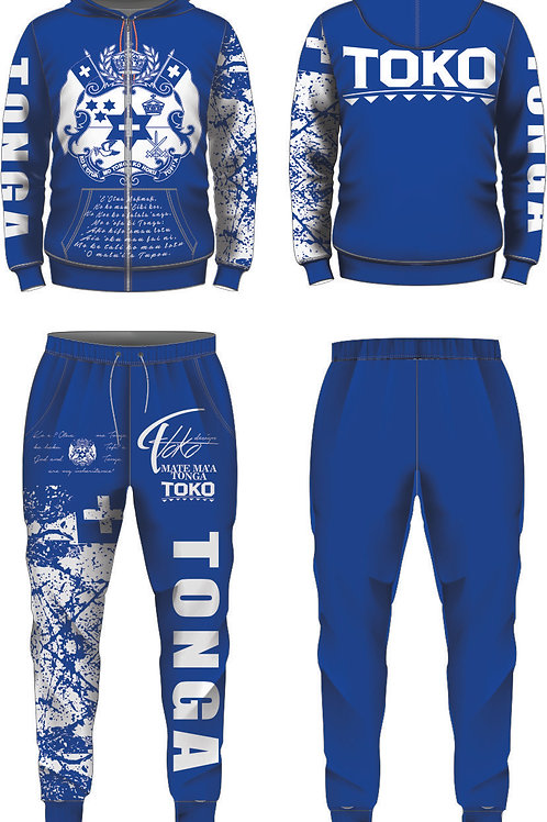 YOUTH SIZE TONGA BLUE AND WHITE JUMPSUIT