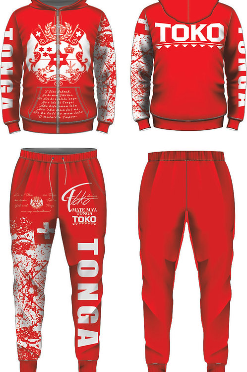 YOUTH SIZES TONGA RED AND WHITE JUMPSUIT