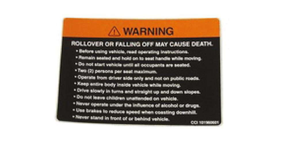 Decal, Dash Warning