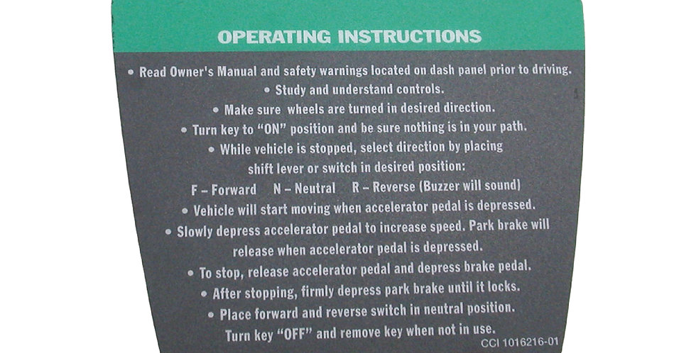 Decal, Operating Instruction (Sticker)