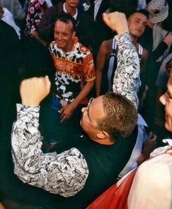 Danny and Jenni Rampling with Terry Farley at Amnesia Ibiza, 1989