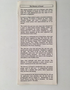 Ministry of Sound opening members letter - 1991