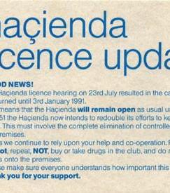 Hacienda Licence Update, 1990