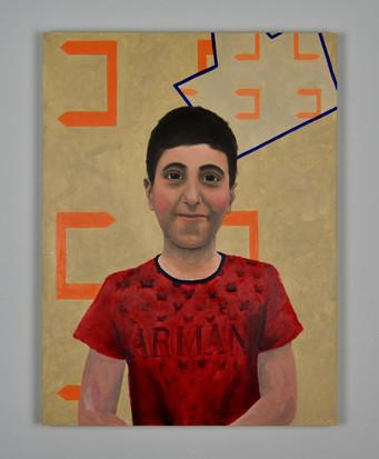 """Armani,18""""x24"""", oil on panel, 2019"""