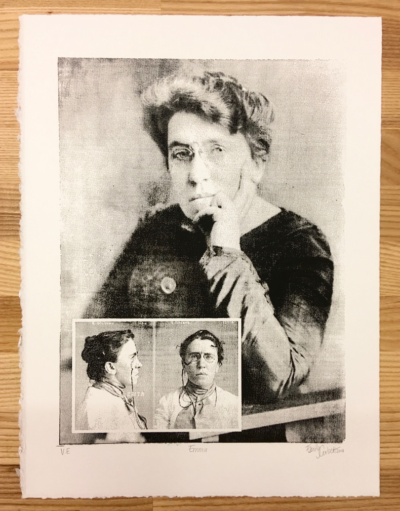 "Emma, wood block relief print, 11""x14"", 2018"