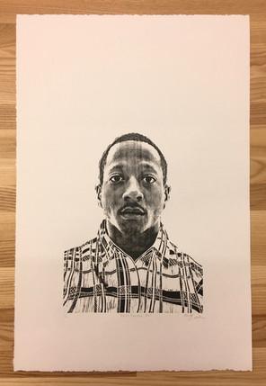 "Kalief Browder, 800, wood block relief print, 14""x22"", 2018"