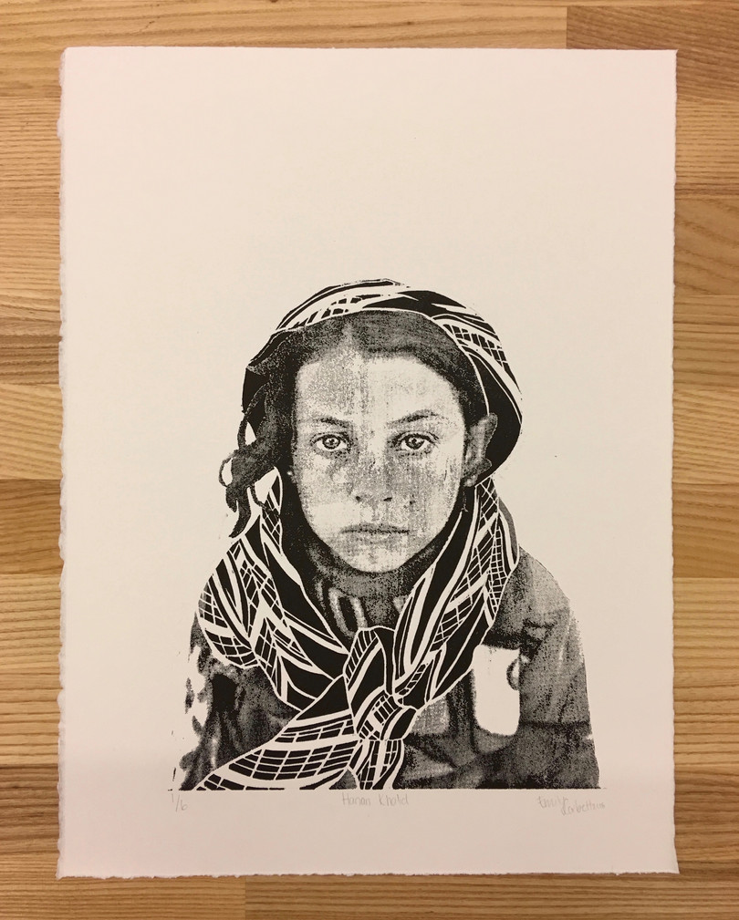 "Hanan Khalid, wood block relief print, 11""x14"", 2018"