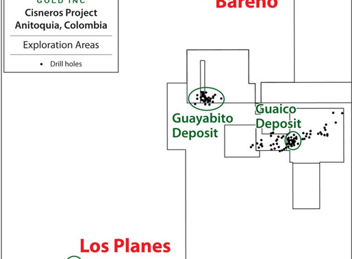 Antioquia Gold Inc. Defines New Regional Gold Prospects at Cisneros Project, Colombia