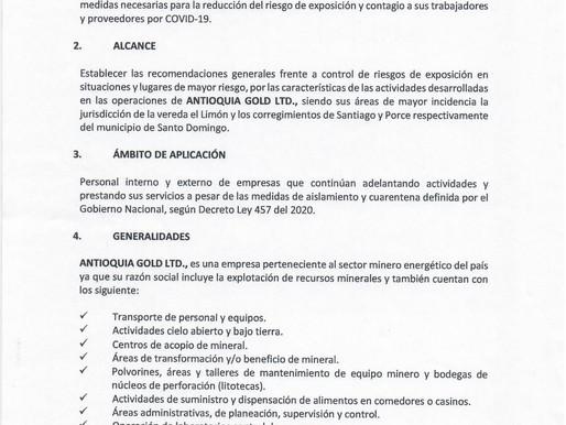 Protocolo de operación para evitar el contagio y propagación del COVID 19.