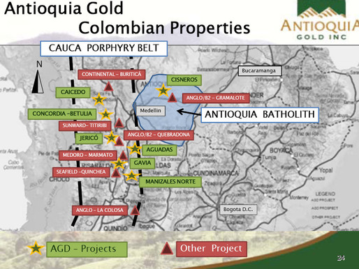 Antioquia Gold Consolidates Colombia Land Holdings