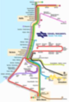 Israel verfügt über ein sehr gut ausgebautes Bahnnetz von Nahariya im Norden über Tel Aviv nach Jerusalem und Beer Sheva.  Die expresslinie verbindet Tel Aviv mit Jerusalem. Zwei Nachtlinien bieten einen 24 Stunden Service