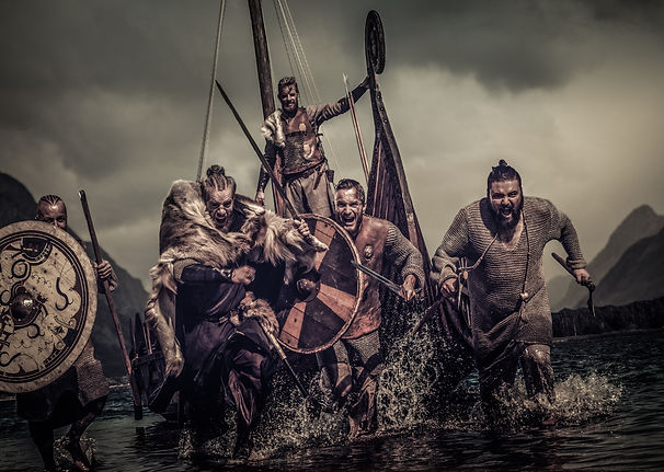 Mad vikings warriors in the attack, runn