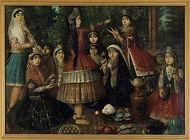 Isma'il Jalayir, Ladies Around a Samovar, probably 1870s (c) Victoria and Albert Museum, L