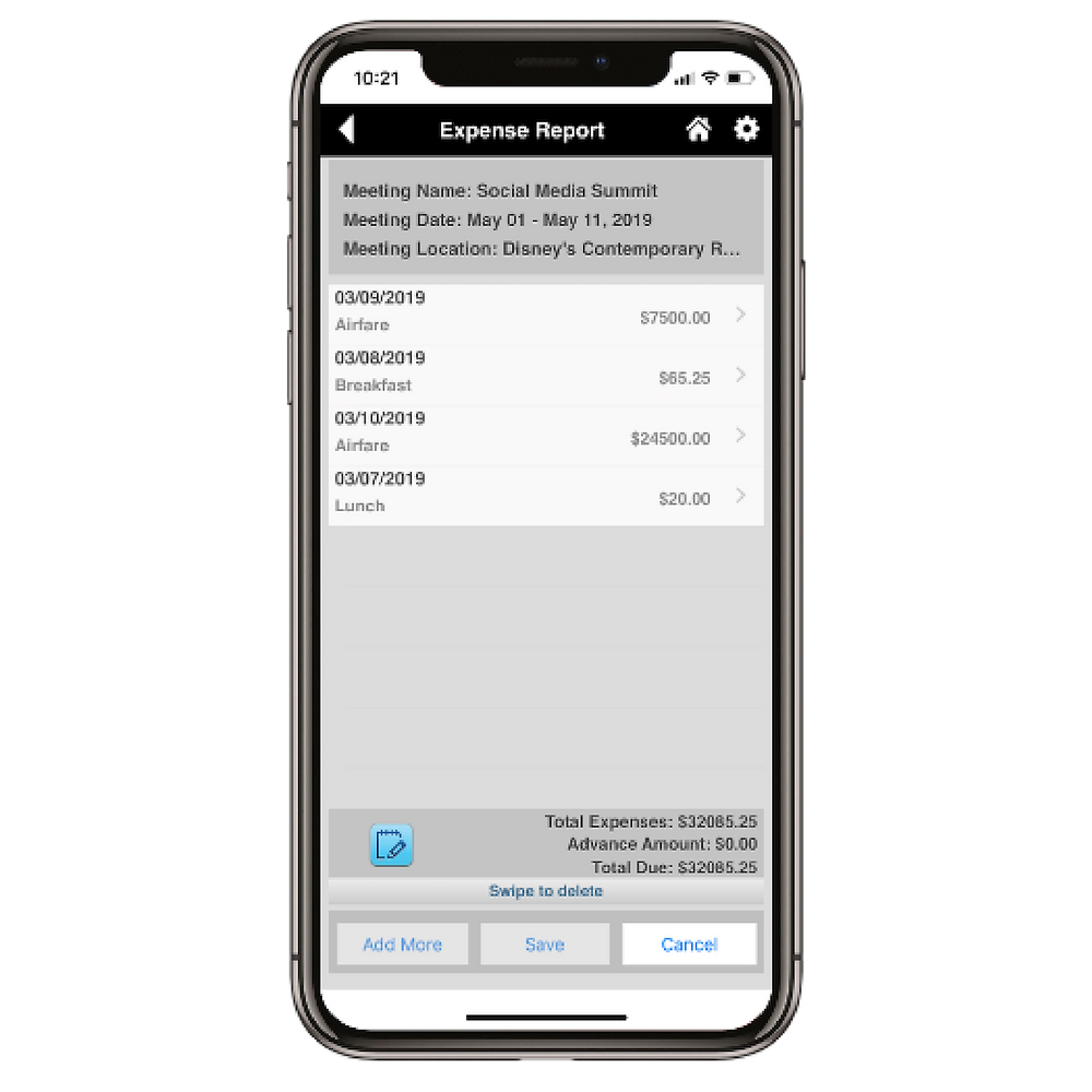 Eventpedia Expense Reporting Feature