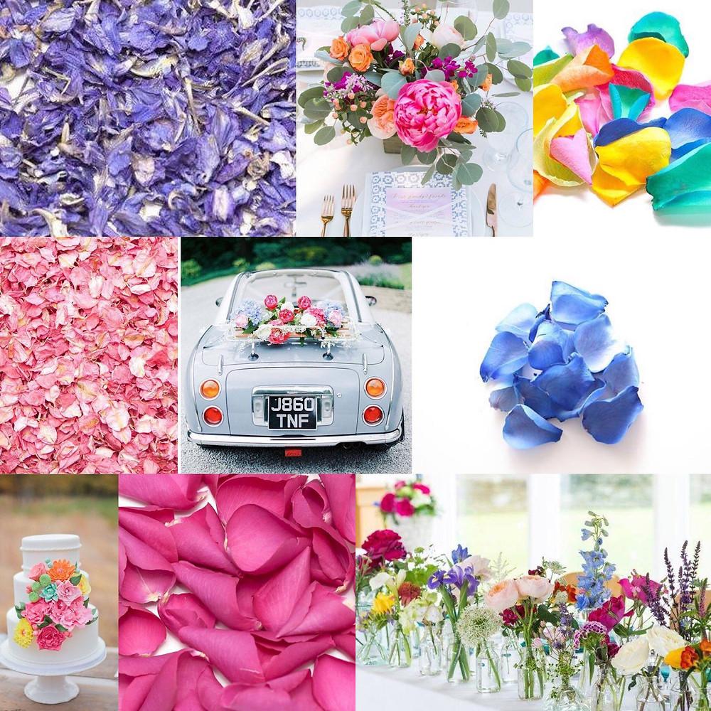 Bright colours confetti wedding ideas