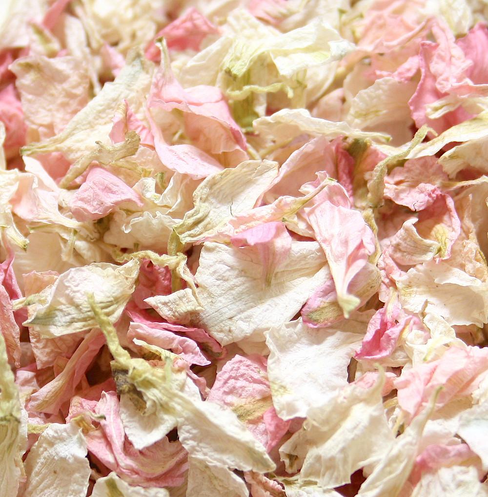 Pink & ivory biodegradable wedding confetti petal mix