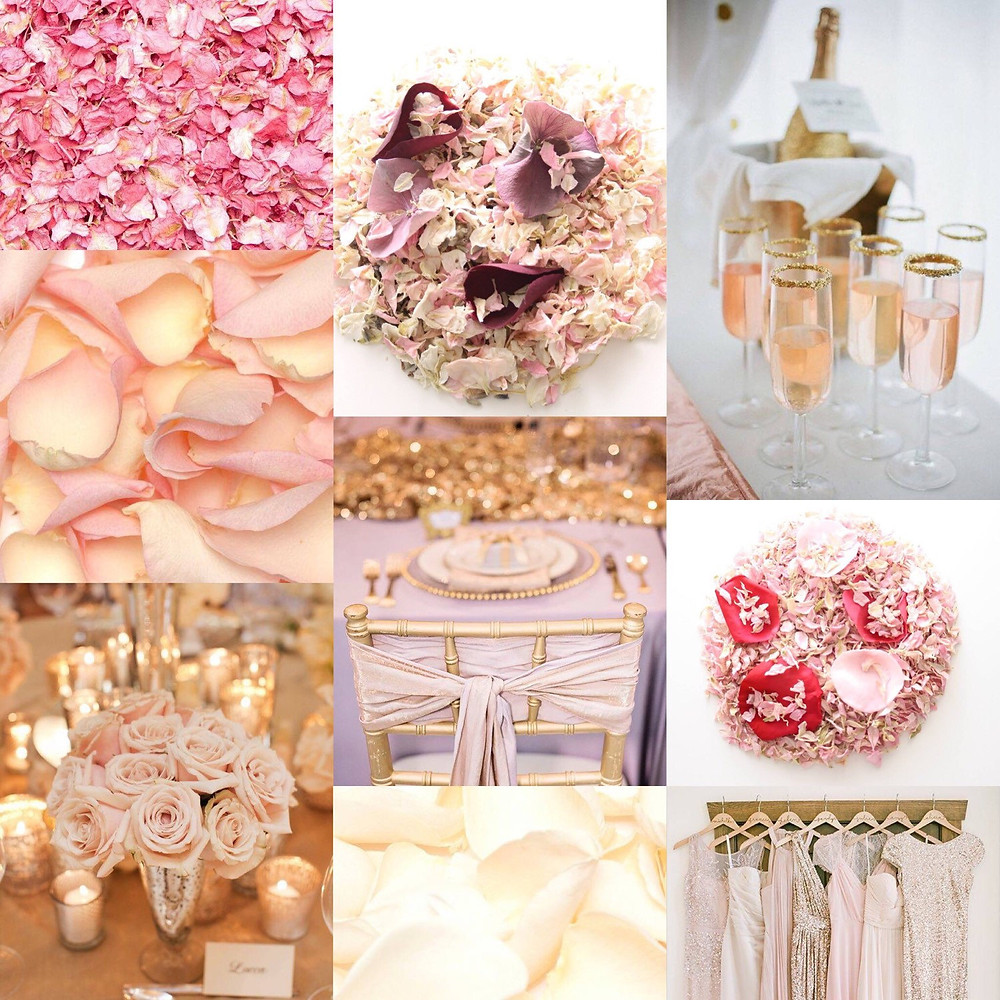 Champagne, Rose gold and white confetti wedding ideas
