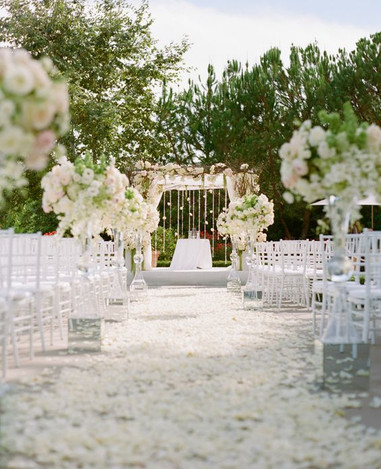 White And Green Rose Petal Aisle