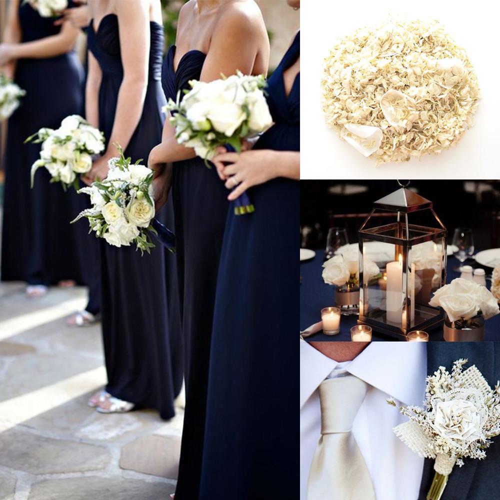 Midnight blue and champagne confetti wedding ideas