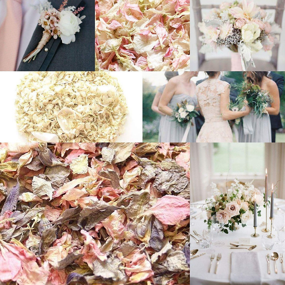 Grey, blush and white confetti wedding ideas