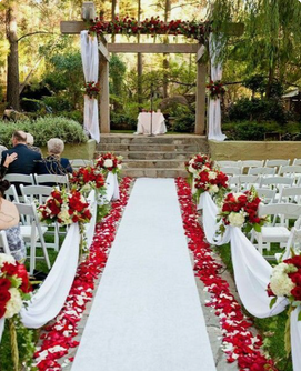 Red And White Rose Petal Aisle